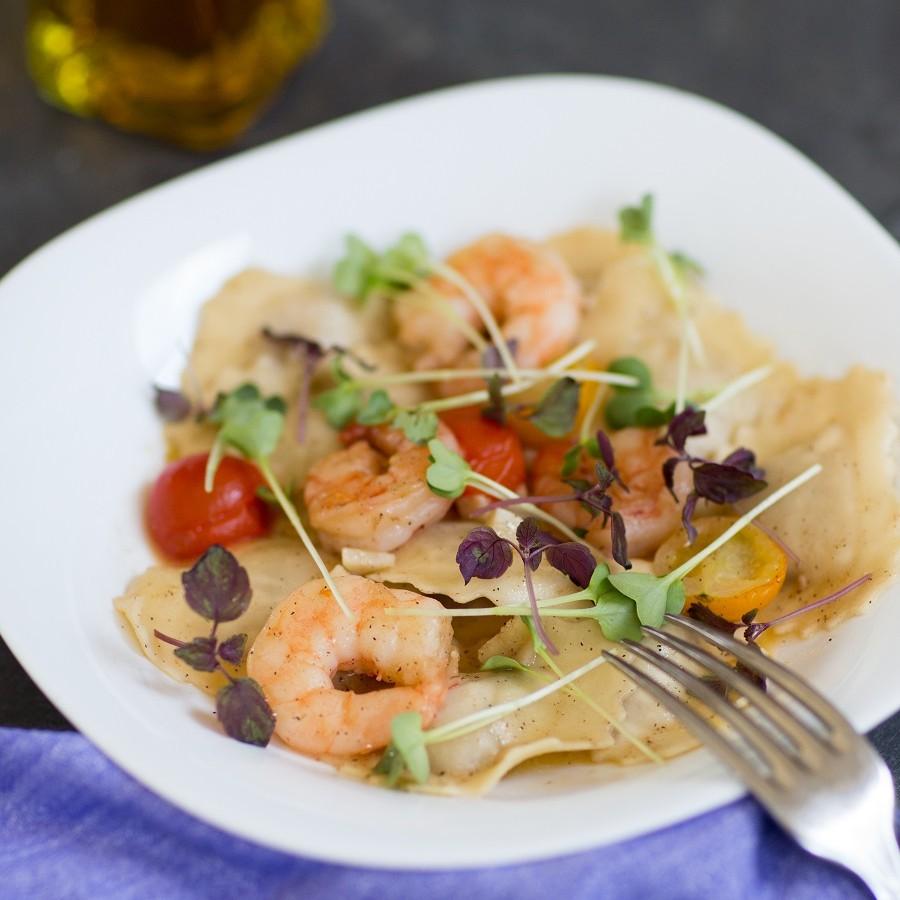 Håndlaget fisk ravioli med scampi - alba catering ski follo oslo